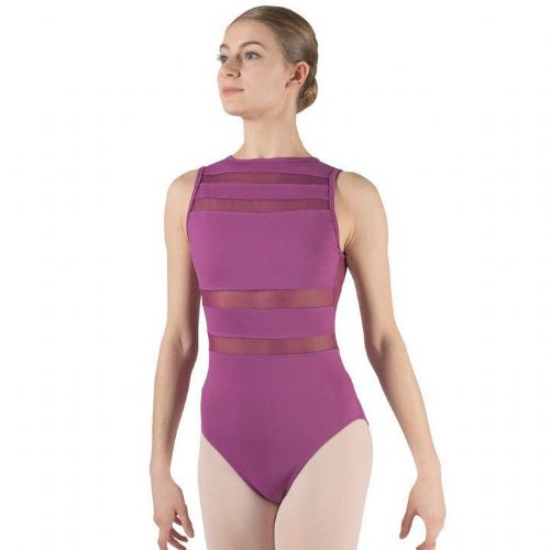 Taglia Basilica Contemporary Dance Leotard Ramona Tactel with Sheer Mesh Purple